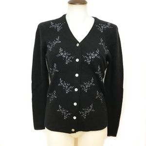 Lambswool Angora Cardigan Sweater With Embroidery